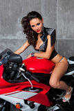 Sexy Girl on sportbike Stock Photography