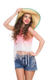 Sexy Girl in Straw Hat Stock Image
