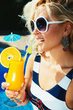 Sexy girl with a summer cocktail Stock Photo