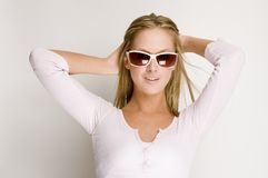 Sexy girl with sun glasses Royalty Free Stock Images