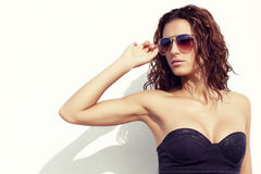 Sexy girl with sunglasses aviator Royalty Free Stock Image