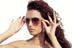 Sexy girl with sunglasses aviator Royalty Free Stock Photography