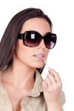 Sexy girl with sunglasses makeup Stock Photography