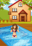 A girl at the swimming pool vector illustration