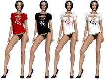 Sexy girl with t-shirt. 3d render of a sexy girl with t-shirt with sale sign Royalty Free Stock Photos