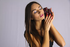 Sexy girl in Temptation winery grape Royalty Free Stock Photos