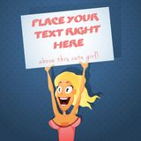 Sexy girl with text board Stock Photography