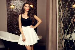 Sexy girl in top and skirt Stock Images