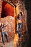 Sexy girl in labyrinths of night dream. Sexy girl in torn jeans in labyrinths of night dream Royalty Free Stock Photos