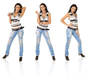 girl in torn jeans in three variants Royalty Free Stock Photo