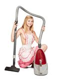 Sexy girl with vacuum cleaner Royalty Free Stock Photos