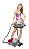 Sexy girl with vacuum cleaner Royalty Free Stock Photography