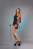 Sexy girl with a violin Stock Image