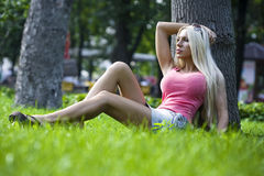 girl on walk in park Stock Images