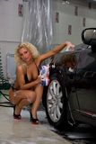 Sexy girl washing car Royalty Free Stock Photo