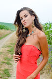 Sexy girl wearing coral top and fancy necklace in Stock Images
