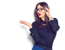 girl wearing glasses showing empty copyspace for text stock images