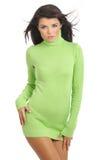 Sexy girl wearing green sweater Stock Photo