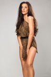 Sexy girl wearing leopard fur. Sexy brunette wearing leopard fur Stock Photos
