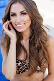 Sexy girl is wearing leopard printed bikini with perfect makeup Royalty Free Stock Photo