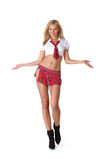 Sexy girl wearing a red skirt Royalty Free Stock Image