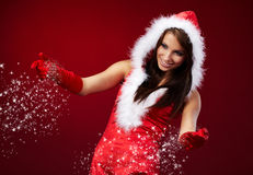 Sexy girl wearing santa claus clothe Royalty Free Stock Photo