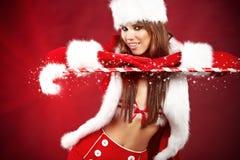 Sexy girl wearing santa claus clothes Stock Photo