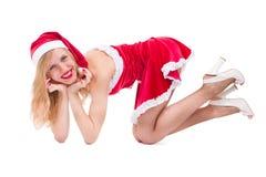 girl wearing santa claus clothes Stock Photos