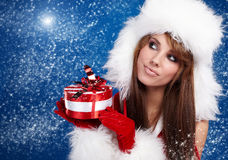 Sexy girl wearing santa claus clothes Royalty Free Stock Image