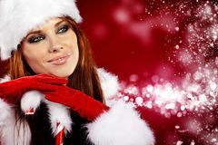 girl wearing santa claus clothes Royalty Free Stock Image