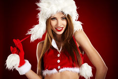 Sexy girl wearing santa claus clothes Stock Image