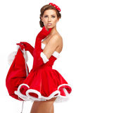 Sexy girl wearing santa claus clothes Royalty Free Stock Photo