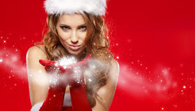 Sexy girl wearing santa claus clothes Stock Photography