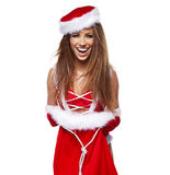girl wearing santa claus clothes Royalty Free Stock Images
