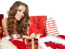 Sexy girl wearing santa claus clothes Stock Photo