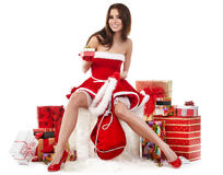 girl wearing santa claus clothes with christmas g stock photos