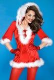 girl wearing santa claus clothes royalty free stock photography