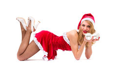 Sexy girl wearing santa claus clothes posing Stock Photo