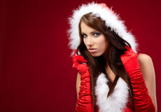 Sexy girl wearing santa claus clothes on r Royalty Free Stock Photo