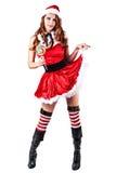 Sexy girl wearing santa claus clothes Stock Photos
