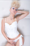 Sexy girl in white Stock Images