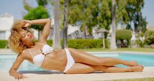 Sexy Girl in White Bikini Next to Swimming Pool stock video