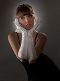 Sexy Girl in White Glove Stock Photos
