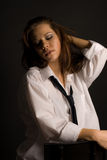 girl in white shirt Stock Photo