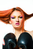 Sexy girl withboxing gloves Stock Photography