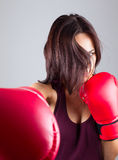 Sexy girl woman athlet in red boxing gloves Royalty Free Stock Photography