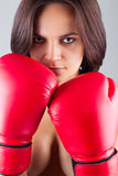 Sexy girl woman athlet in red boxing gloves Royalty Free Stock Image