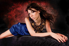 Sexy Girl Woman Fashion Model in Blue Dress Royalty Free Stock Images