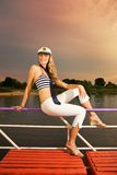 Sexy girl on a yacht Royalty Free Stock Photography