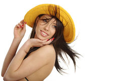 Sexy girl in yellow hat and bikini Royalty Free Stock Photo